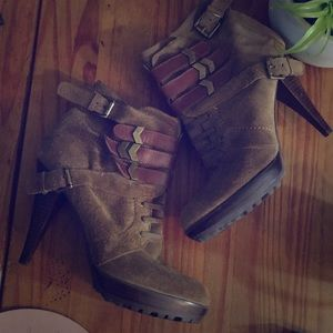 rare distressed leather suede boho boots
